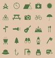 Camping color icons on brown background vector
