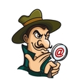 Detective with magnifying glass for web search vector