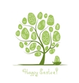 Art tree with easter eggs for your design vector