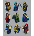 Set of hoody gangsters vector