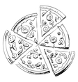 Sliced pizza icon vector