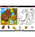 Wild animals coloring page set vector