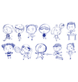 Blue doodle design of people playing with the vector