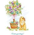 Easter card with rabbit and basket vector