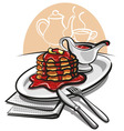 Pancakes with syrup vector