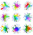 Paint ink blots splashes set vector