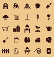 Farming color icons on brown background vector