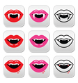 Vampire mouth vampire teeth buttons set vector