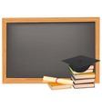 Graduation and black desk vector