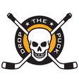 Hockey emblem with skull and crossed hockey sticks vector