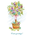 Festive postcard with easter eggs and baskets vector