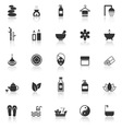 Spa icons with reflect on white background vector