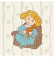 Girl sitting in chair with her teddy bear vector