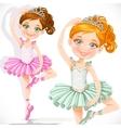Cute little ballerina girl in pink and green tutu vector
