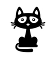 Little black cat icon cartoon style halloween vector