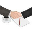 Handshake with notepad and pen shut vector