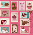 Sweet cakes and desserts postage stamps vector