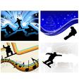 Snowboard backgr set vector