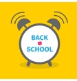 Alarm clock with chalk text back to school flat vector