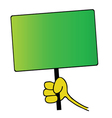 Hand holding green board vector