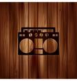 Retro tape recorderwooden background vector