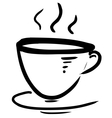 Cup with steam stylized vector