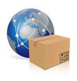 Earth with cardboard box vector