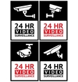 Stickers camera surveillance set vector