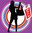Girl in black silhouette with sale tag vector