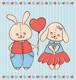Two valentine rabbit in love vector