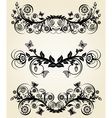 Set of vintage black floral borders vector