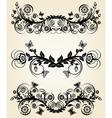 Set of vintage black floral borders vector