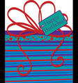 Bright gift box birthday card in format vector