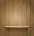 Wooden shelf on the wall vector