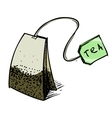 Tea bag with label vector