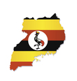 Uganda africa map flag vector