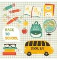 Cute school cartoon colection vector