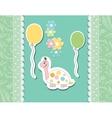 Vintage doodle baby tortoise vector