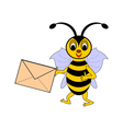 A funny cartoon bee with a letter in its hand vector
