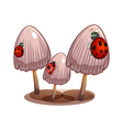 Three mushrooms with ladybugs vector