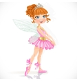 Cute little fairy girl in tiara isolated on a vector