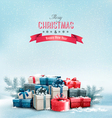 Holiday christmas background with gift boxes vector