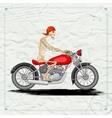 Skeleton riding vintage motorcycle vector