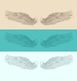 Angel wings set  engraved style vector