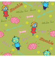 Funny seamless pattern with zombies and brain vector