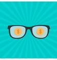 Glasses and gold dollar coin inside sunburst vector