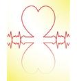 Red heart beats cardiogram vector