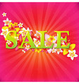 Sale poster with flowers and sunburst vector