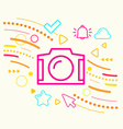 Photo camera on abstract colorful geometric light vector