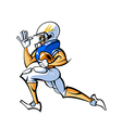 Side view of man holding ball and running vector